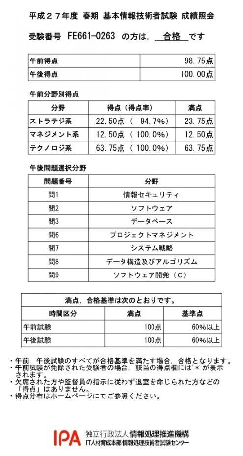 基本情報技術者試験(平成27年度春期)成績照会