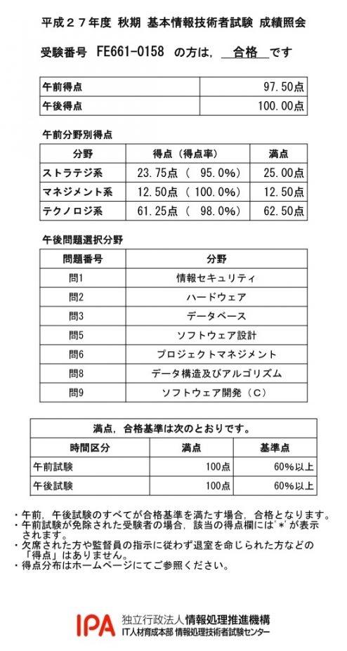 基本情報技術者試験(平成27年度秋期)成績照会